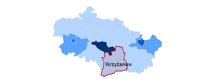 Mapa powiatu kutnowskiego z wyszczególnieniem granic gminy Krzyżanów